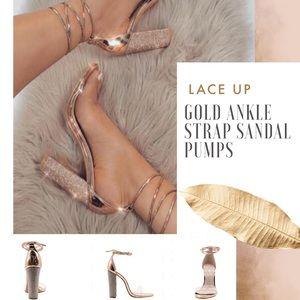 Ankle Strap Clear Peep Toe Gold Heel Pump Sandal
